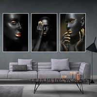 Golden Fashion Sexy Black Woman Canvas Painting Posters and Prints Scandinavian Wall Art Picture for living Room Cuadros Decor