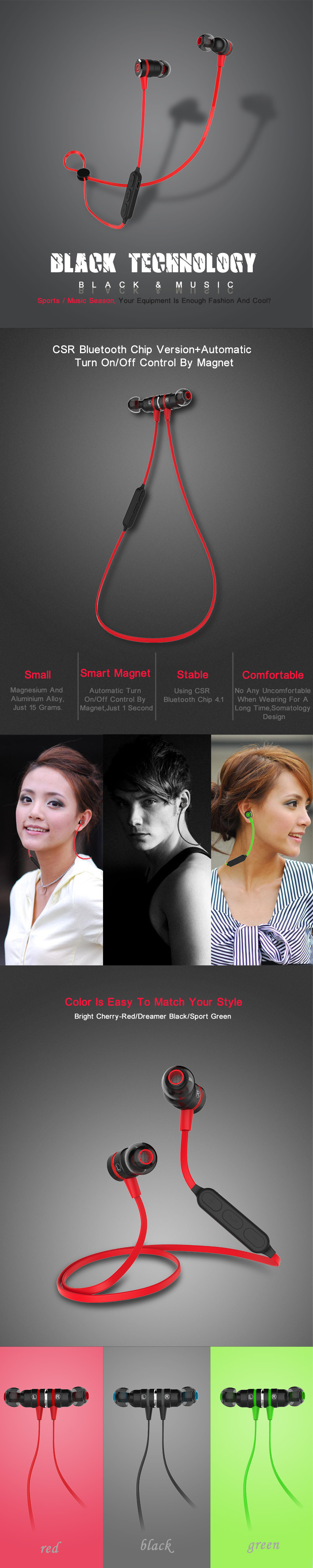 Lerbyee BX335 Bluetooth Earphone Sport Wireless Earphones With Microphone Metal Magnetic Stereo Gaming Headset for smartphone