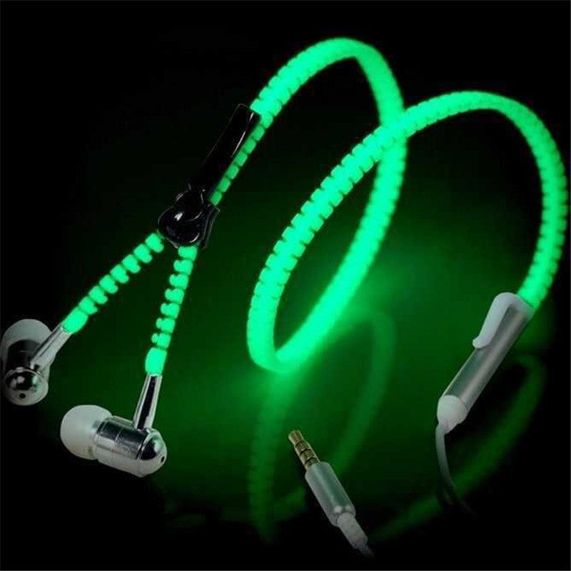 Hot sale ! Glowing Earphone Luminous Light Metal Zipper Earbuds Glow In The Dark For mobile phone MP3 With Mic TSFH