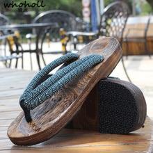 WHOHOLL гэта Аниме костюмы для косплея японские сандалии гэта летние сандалии мужская деревянная обувь на плоской подошве Сабо шлёпанцы