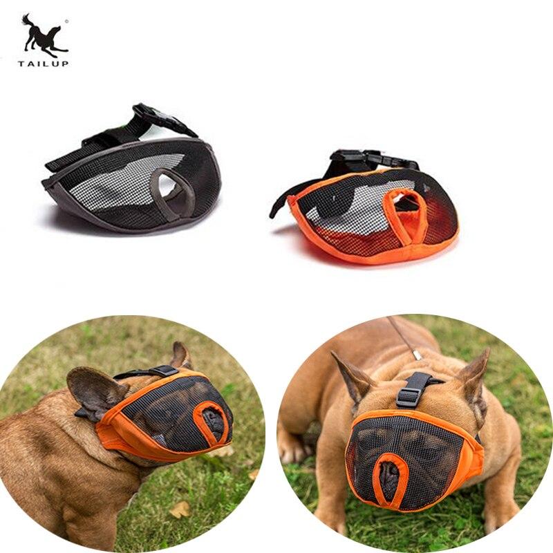TAILUP Bulldog Goggles oft Mesh Pet Dog Heads Muzzle Mask Anti Bite Barking Head Breathable Masks Pets Accessories TM02