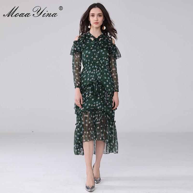 Vert Col print Plage Piste Moaayina Vacances Manches Femmes Casual Arc Ruches Floral Encolure D'été Longues Mode Robe 1PnPgaR