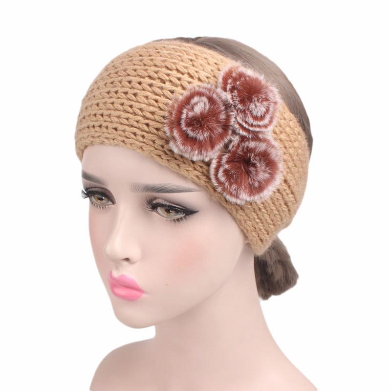 2017 New Three Rabbit Hairball Woolen Headband Handmade Crochet Headdress TD 150C Hair Accessories 2Pcs Free