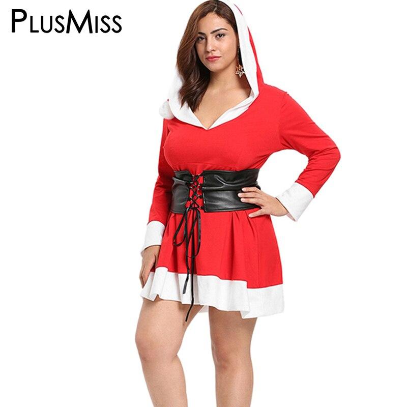 PlusMiss Plus Size 5XL L Christmas Santa Claus Red Hooded Dress Women Big Size Sexy Mini Short ...