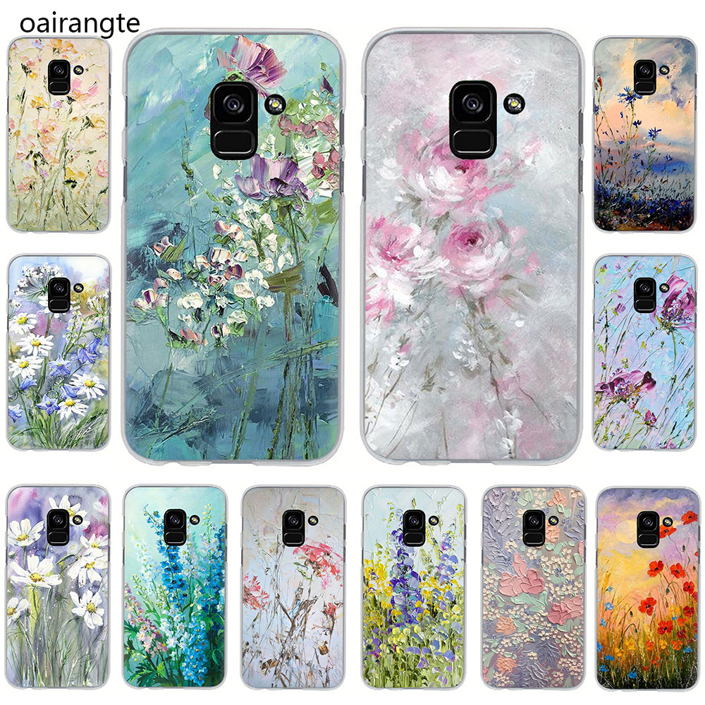oil painting flowers Hard phone cover <font><b>case</b></font> for <font><b>Samsung</b></font> Galaxy A3 5 2017 A6 7 8 9 2018 A10 30 40 50 <font><b>70</b></font> image
