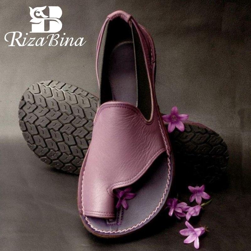 RIZABINA 6 Colors Simple Fashion Daily Beach Shoes Women Sandals Brand Walking Cross Strap Flats Shoes Club Sandals Size 35-43