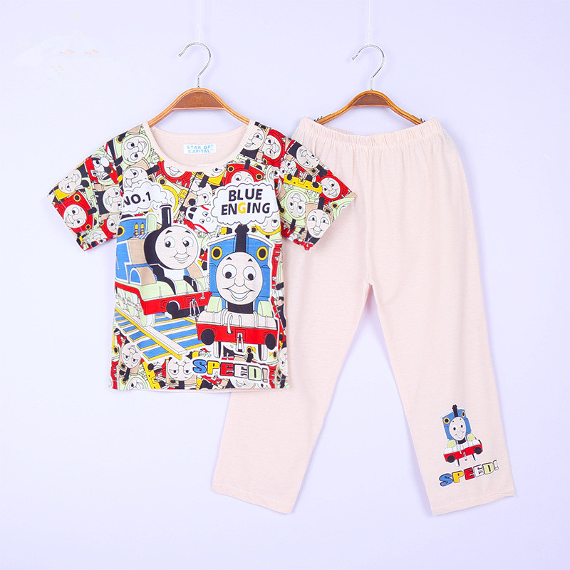 Chidren Underwear Kids Boys Pajamas Cartoon Thomas Train Nightwear Bedgown sleepwear Summer T shirts +Pants Set Home Clothing