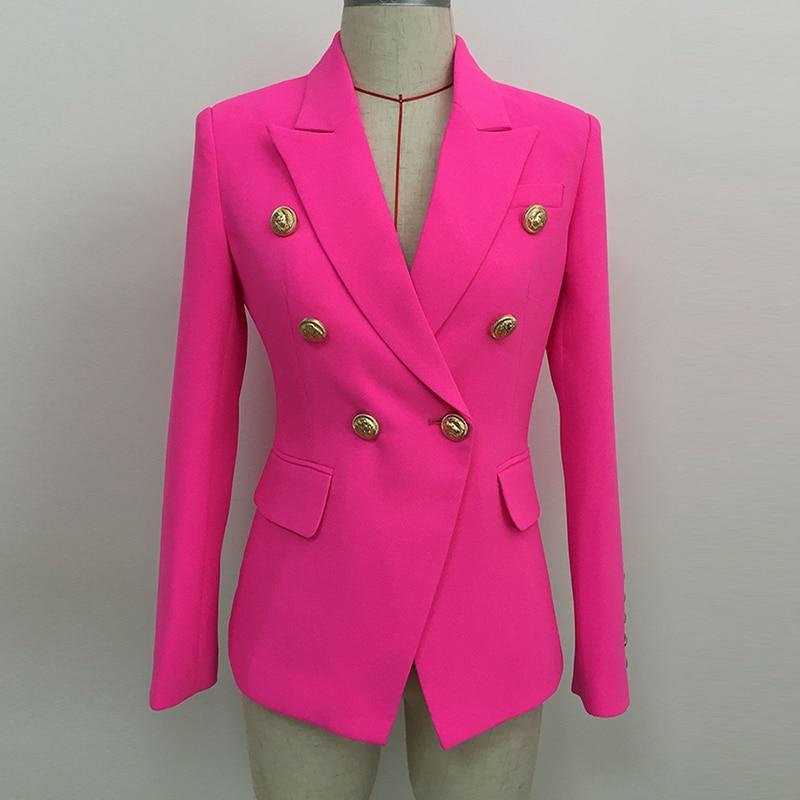HIGH STREET 2019 Stylish Designer Blazer Women's Double Breasted Lion Buttons Slim Fitting Blazer Jacket Neon Pink