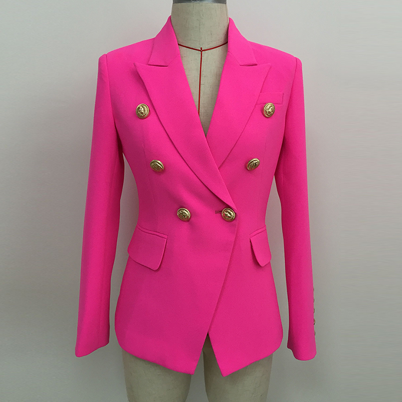 HIGH STREET 2020 Stylish Designer Blazer Women's Double Breasted Lion Buttons Slim Fitting Blazer Jacket Neon Pink