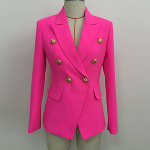 HIGH STREET 2020 Stylish Designer Blazer Women's Double Breasted Lion Buttons Slim Fitting Blazer Jacket Neon Pink