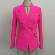 HIGH STREET 2020 Stylish Designer Blazer Women's Double Breasted Lion Buttons Sl