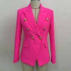HIGH STREET 2020 elegante diseñador Blazer mujer doble botonadura botones de León Slim fit Blazer chaqueta Rosa neón
