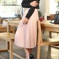 Англия стиль высокая талия шифон юбка женщины 2017 элегантный длинный плиссированные юбки женщины тонкий розовый простой длиннее шифоновое юбка девушки