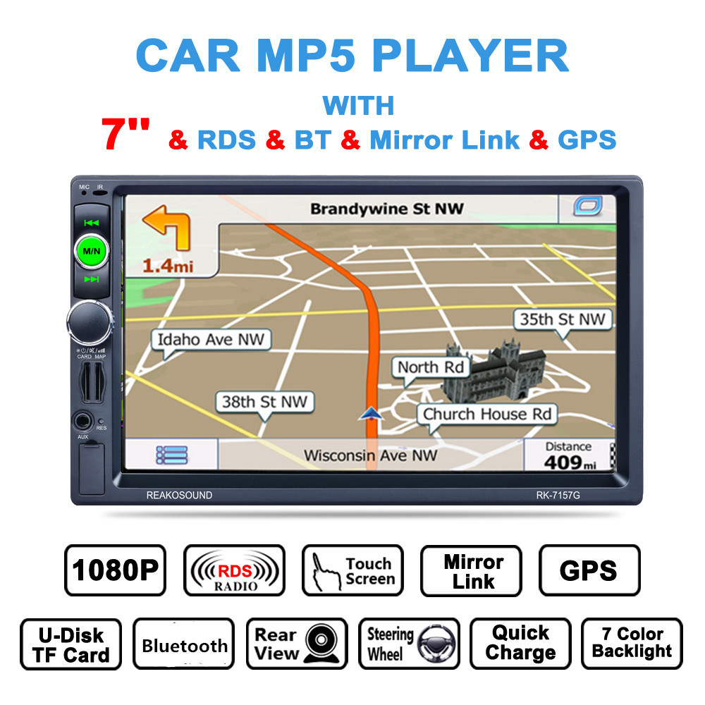 7'' 2 Din Bluetooth Auto Multimedia Car Stereo MP5 Player GPS Navigation AM / FM / RDS Radio Support Mirror Link / Aux In