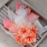 Free Shipping Well Made 2015 New Design Orange Pink White Rhinestone Hot Bridal Hat Floral Headpieces