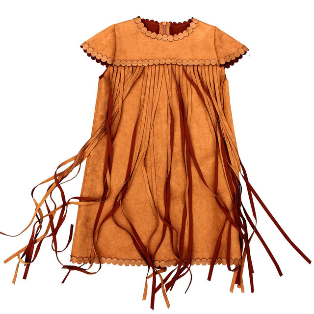 cb7ab1306a Girl tassels dresses 2019 spring Autumn toddler Kids Dresses Girls Dresses  Children Clothing party fashion Suede baby dresses