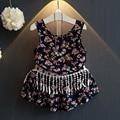 SunshHu ху саншайн оптовая новый 2017 летняя мода Девушки цветы печати кисточкой блузка + шорты 2 шт. комплект одежды