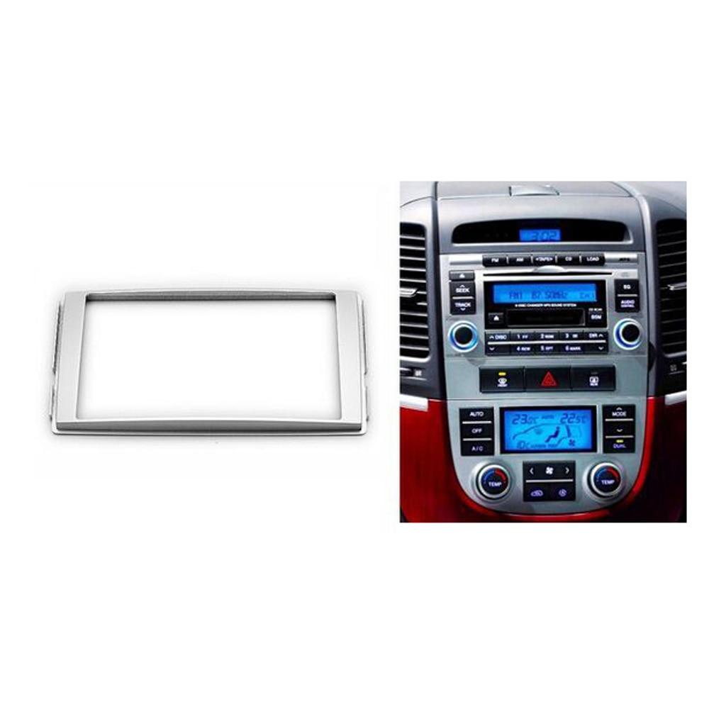 Double din stereo panel for hyundai santa fe 2006 2012 fascia radio dvd dash mounting installation trim kit face frame