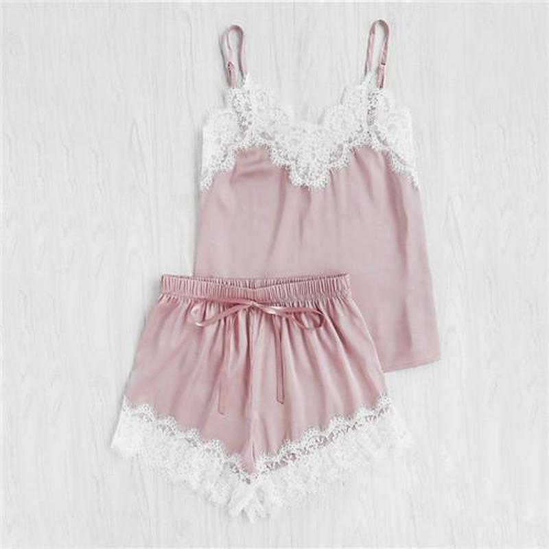 Women Sleepwear Sleeveless Strap Nightwear Lace Trim Satin Cami Top   Pajama     Sets   Sexy Lingerie Intimate Ladies pijama mujer