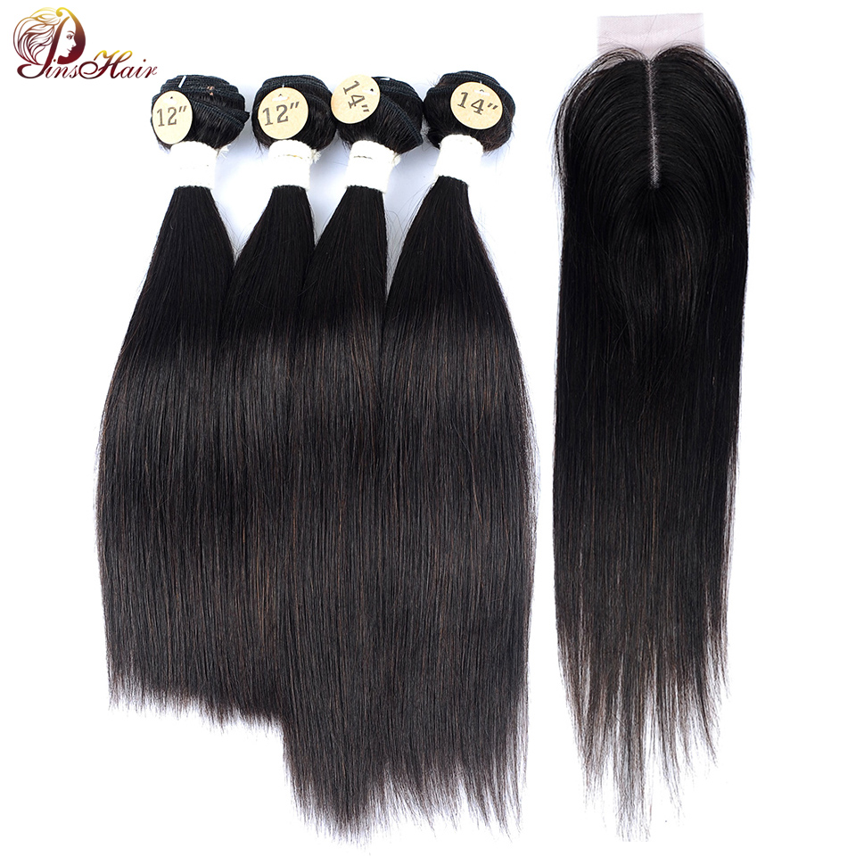 Brazilian Straight Hair Bundles With Closure Natural Color Human Hair Weave 4 Bundle Deals With Closure No Shed Nonremy Pinshair