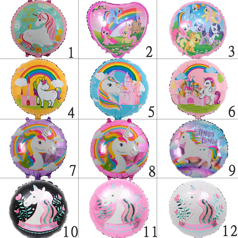 free shipping 1PC 18-inch Romantic unicorn party balloon Helium inflatable balloons birthday party decorations kids toy globos