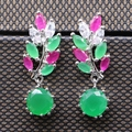Fashion Jewelry Natural Multi-color AAA Cubic Zirconia White Gold Plated Earrings For W