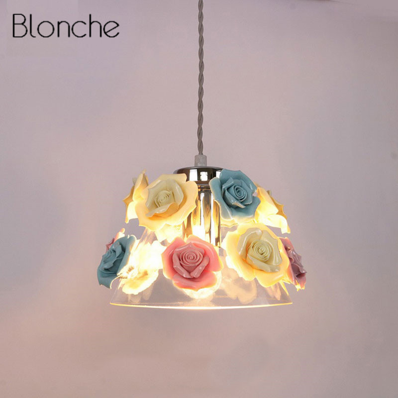 Modern Nordic Rose Plant Pendant Lights LED Glass Hanging Lamp for Home Decor Luminaires Dining Room Living Room Light Fixtures lionel 19532 hormel refrigerator car o gauge train
