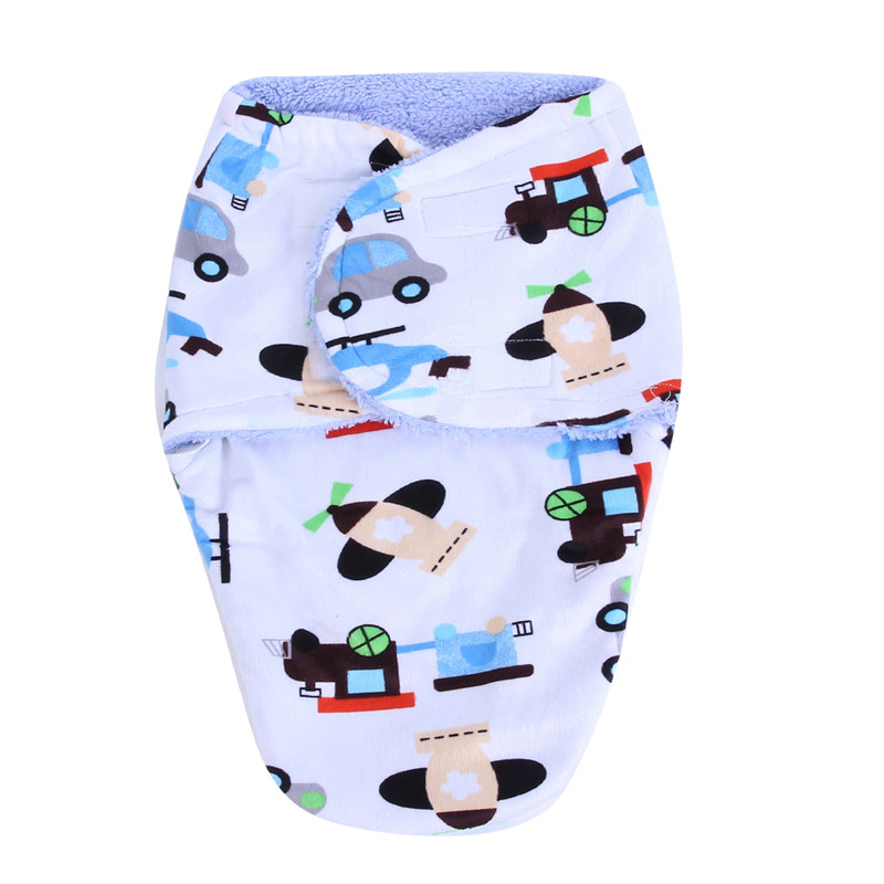 Baby Sleeping Bag Double Layer Short Plush Warm Baby Blanket Bedding Crib Quilt Infant Envelope Cartoon Newborn Swaddle Wraps