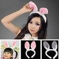 Mais novo Lindo Meninas mulheres Headband Do Orelhas de Coelho coelho Cauda Gravata Costume Party Prop Hairbands presente de Aniversário