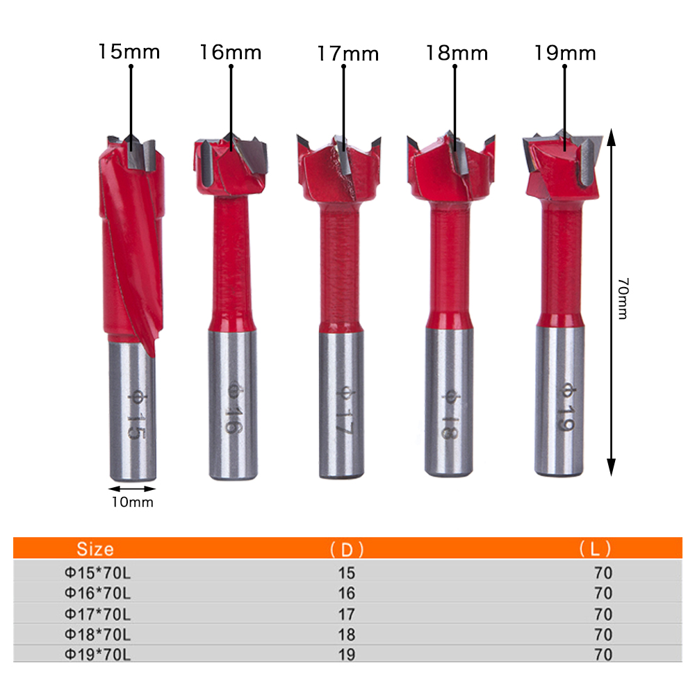 Hakkin 5Pcs Sharp Hinge Boring Drill Bit Set Milling Router Bit For Wood Hole Cutter Industrial Auger Wooden Drilling high quality 55mm blue gray forstner sharp tip hinge wood drill boring bit