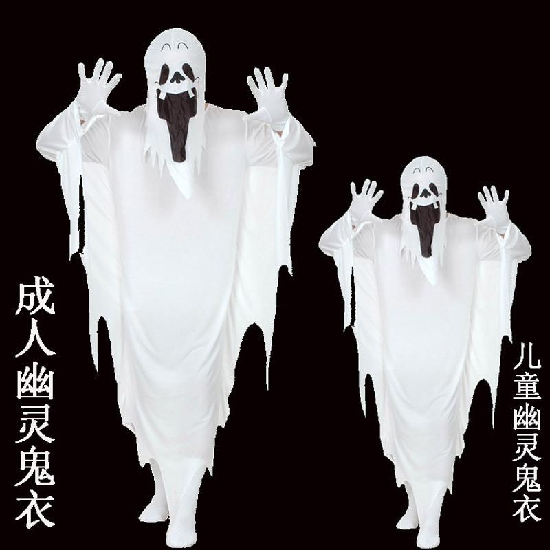 Boys Girls White Ghost Cloak Cotume Women Men Halloween Costume For Kids Adult White Specter Costume Cosplay Robe