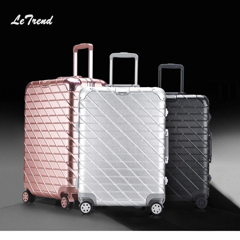 Letrend Nouvelle Mode 29 Pouce En Aluminium Châssis Roulant De Bagages Chariot Boîte de mot de Passe 20' D'embarquement Valise Femmes Voyage Sac Tronc