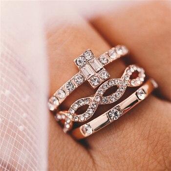 3Pcs/Set Crystal Rings 1