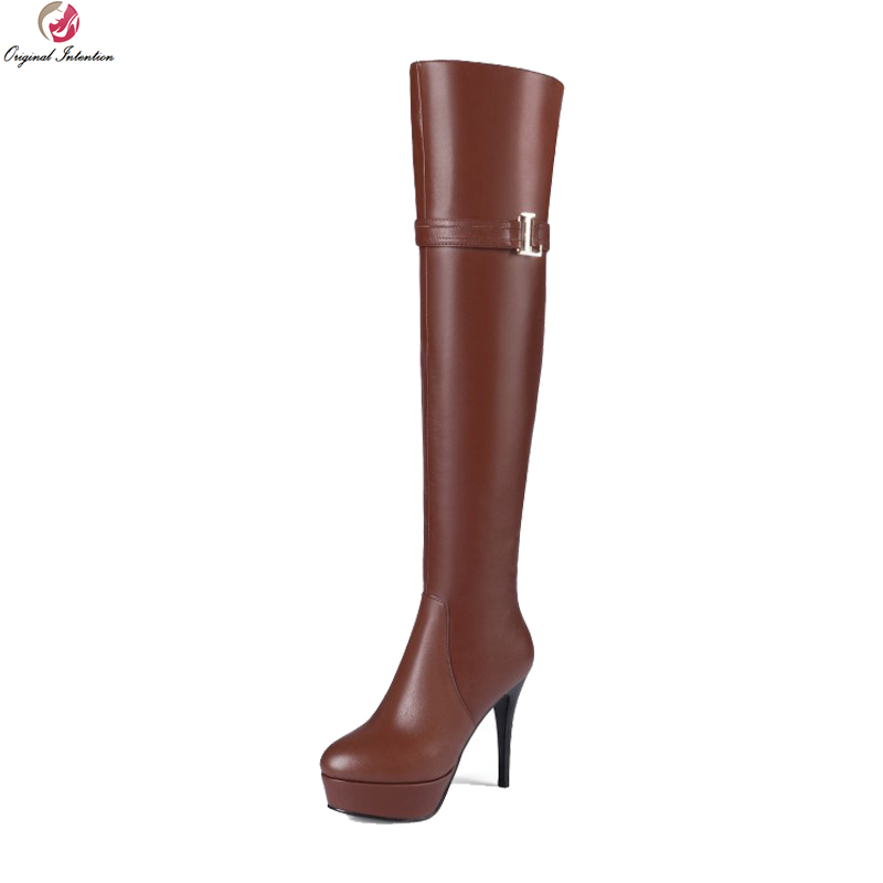 Original Intention Fashion Women Over-the-Knee Boots Platform Round Toe Thin Heels Boots Black Brown Shoes Woman US Size 3-13
