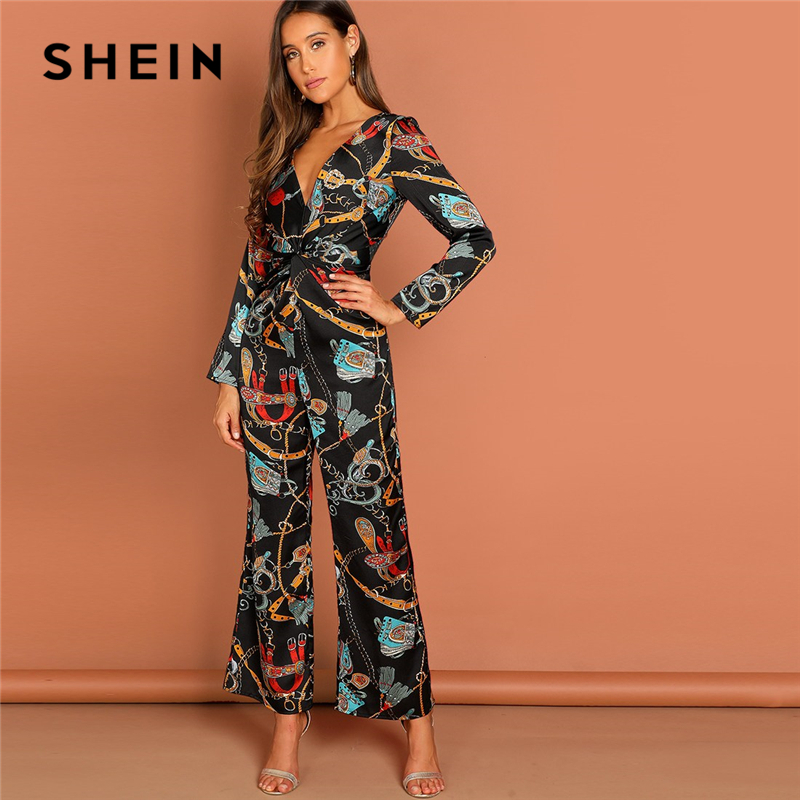 SHEIN Multicolor Waist Knot Chain Print V Neck Jumpsuit Going Out Elegant Office Lady Long Sleeve 2018 Autumn Women Jumpsuits-in Jumpsuits from Women's Clothing