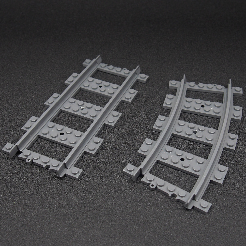 5PCS Mini Train Track Building Blocks Bricks Streight and Curve Track Rail Figures Toys for Children lepin train