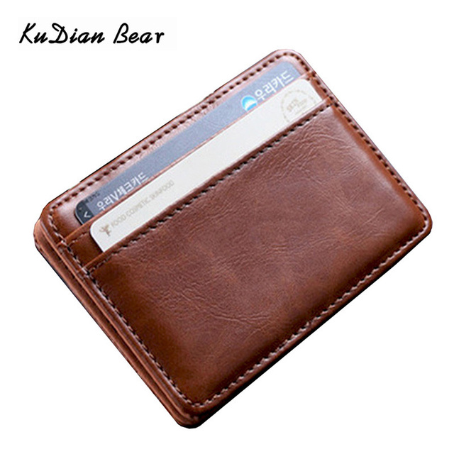 KUDIAN BEAR Leather mini wallet Magic Brand Designer Slim Wallet Men Card Holder Korean Bilfold Clamps for Money BID224 PM49