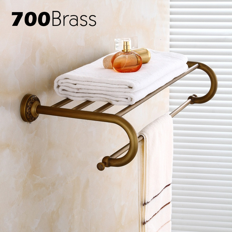 European Style Antique Brass Carving Bathroom Towel Rack Wall Mounted Shower Towel Holder Bathroom Accessories