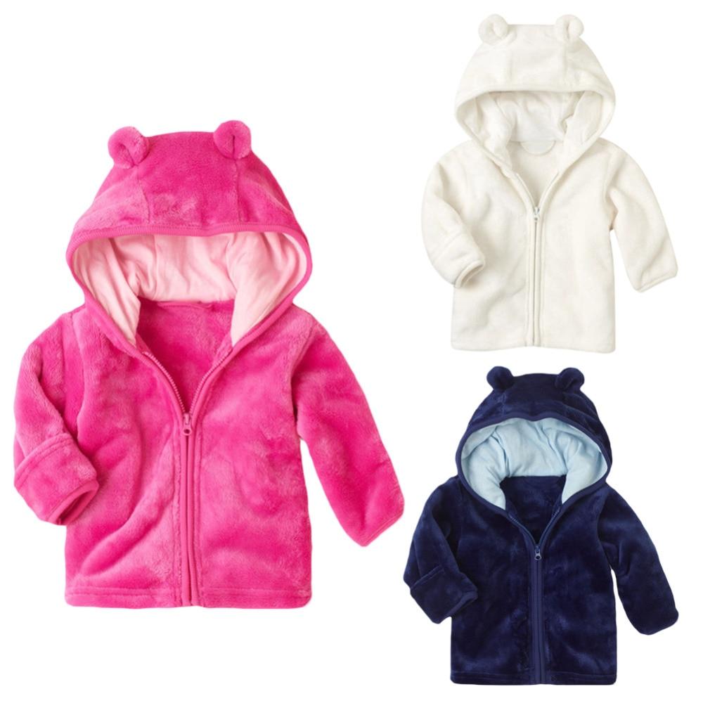 3-24M Winter Fall Warm Thick Coral Fleece Baby Boys Girls Coat Long Sleeve Cute Ear Hooded Solid Jacket Infant Zipper Coat Y1