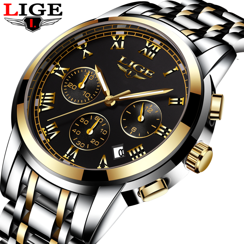 LIGE Top Brand Luxury Mens Watches Fashion Casual Sport Wristwatch Men Date Quartz Clock Man Army Military Watch Relojes Hombre xinge top brand luxury leather strap military watches male sport clock business 2017 quartz men fashion wrist watches xg1080