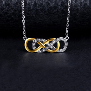 Infinity Gold Silver Pendant  Sterling Silver Chain Statement Necklace  3