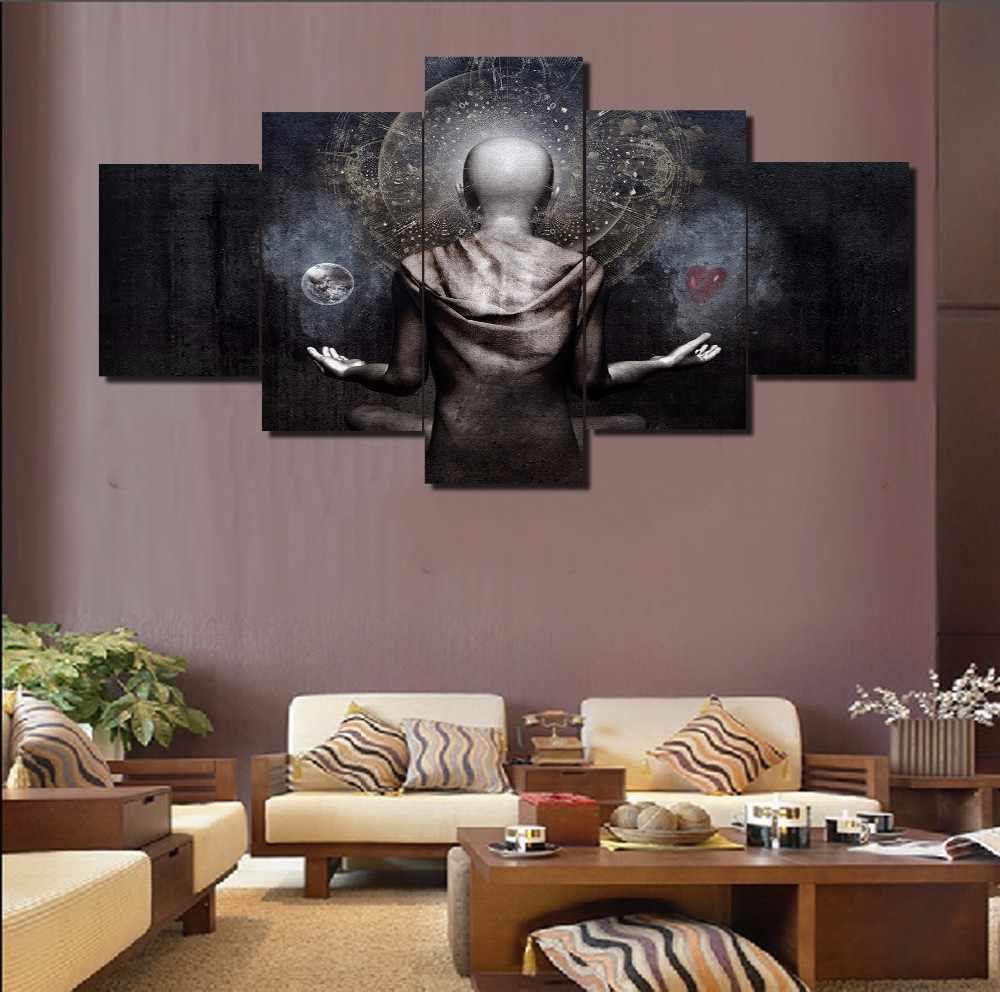 Fashion Framed Wall Decorations 5pcs / Set Modern Movie Buddha Poster Canvas Print Artist Canvas Decoration/11Y-ZT-76