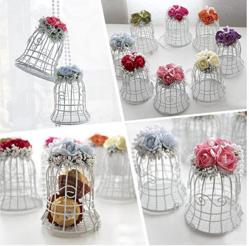 1pcs White Bird Cage Wedding Party Gift Box Metal Candy Chocolate Flower Decoration