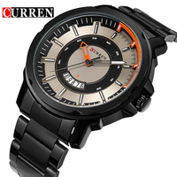 CURREN 2017 Quartz Calendar Display Black Stainless Steel Waterproof Men Military Sport Wrist Watch Top Brand
