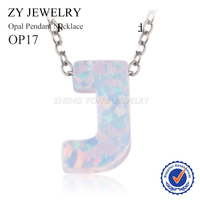 Plating Rose Gold Gold Rhodium Silver White Opal Letter J 925 Silver Necklace Fashion Opal Jewelry