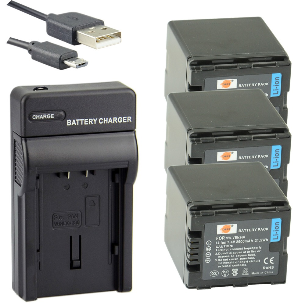 DSTE 3PCS VW-VBN260 Li-ion Battery + UDC126 USB Port Charger for Panasonic TM900 SD800 HS900 SD900 Camera