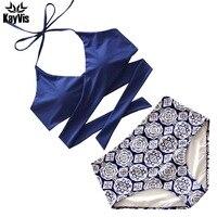 KayVis Sexy Criss Cross Bikini 2016 Bandage Brazilian Swimsuit Women Padded Swimwear Bikini Set Wrap Top
