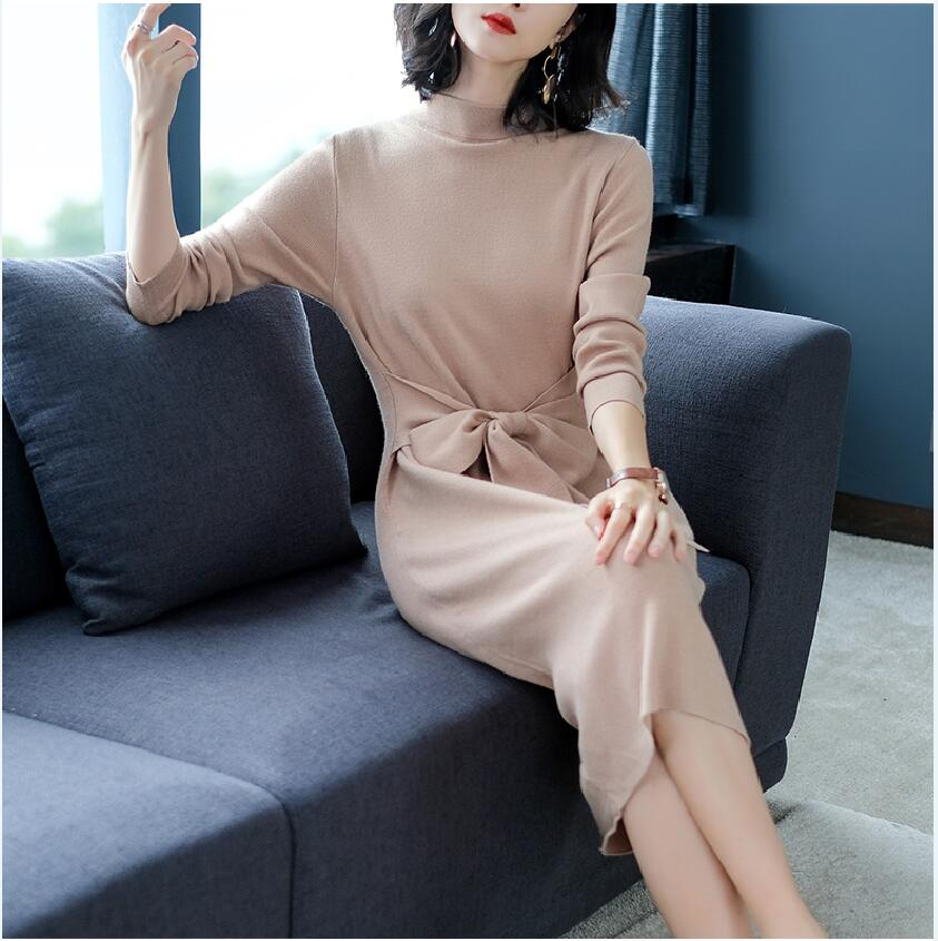 New Women Winter Sweater Dress 2018 Soild Turtleneck Thick Long Sleeve Office Lady Knitting Dress