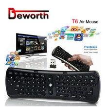 2.4GHz 6 axes Gyroscope mouche Air souris clavier sans fil T6 Mini clavier télécommande VS T3 MX3 I8 pour S912 S905 OTG TV Box