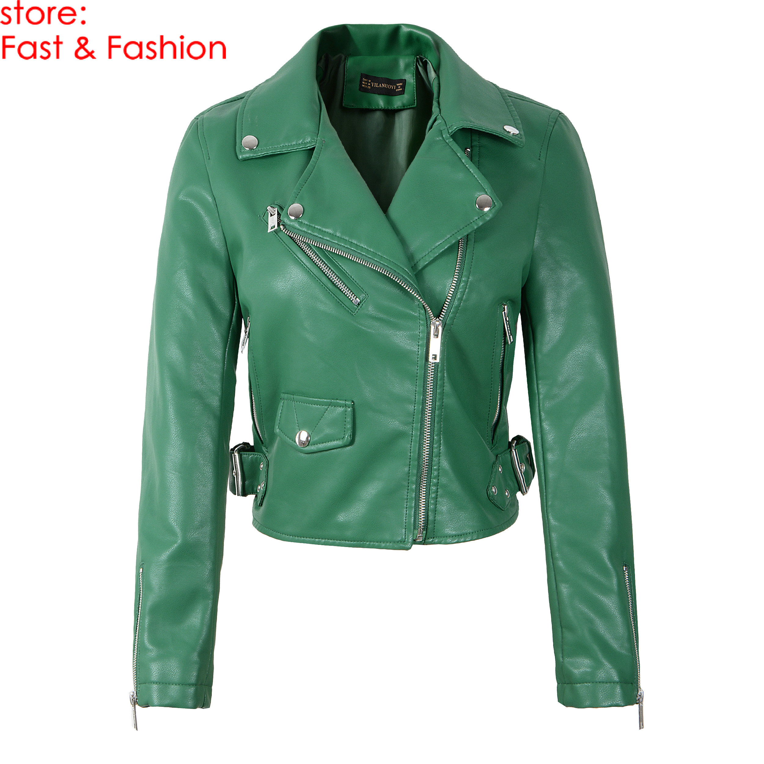 2019 New Fashion Women Autumn Rivet Faux Soft   Leather   Jackets and Coats Lady PU Long Sleeve Zippers Motorcycle Biker Outerwear